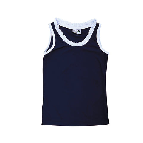 trudy ruffle performance tank navy