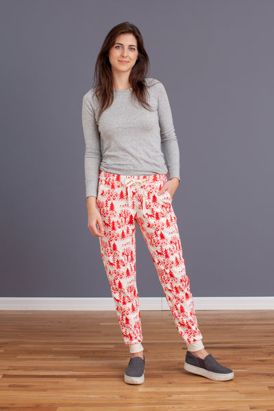 Adult Sweatpants - Winter Scenic Red
