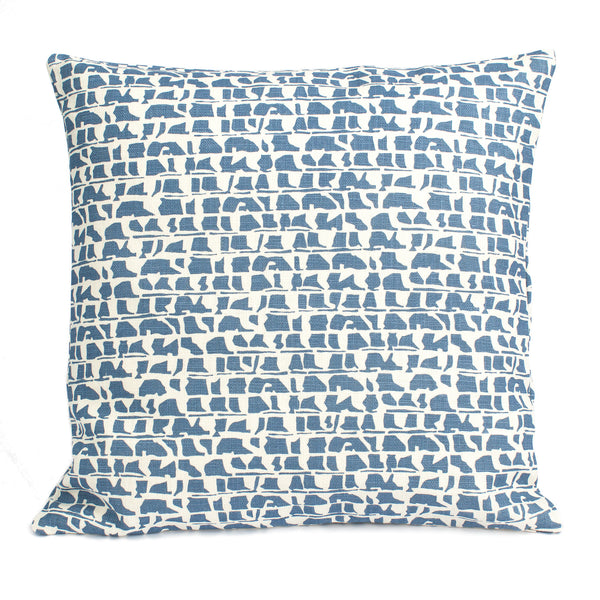 Belgian Linen Pillow Case - Corrugated Blue