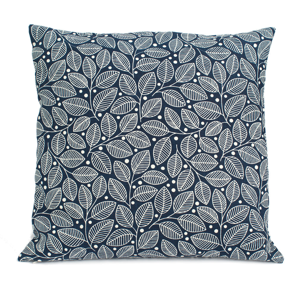 Belgian Linen Pillow Case - Leaves & Berries Navy