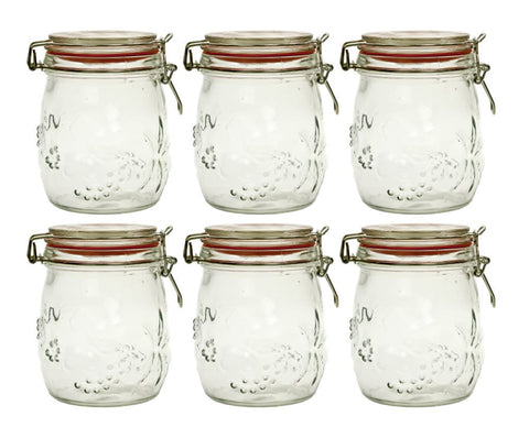 011 Set 6 Embossed Glass Jars with clip lid online nz
