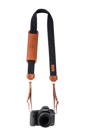 FOTO | Black Fotostrap - a black canvas and genuine leather camera strap that can be personalized with a monogram or business logo, making it the perfect personalized gift!