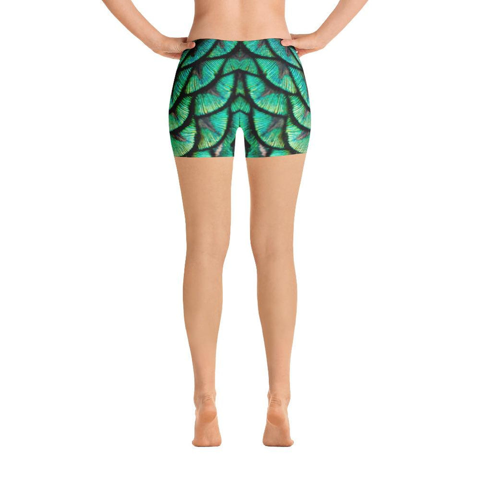 Peacock Feathers Shorts - US FITGIRLS