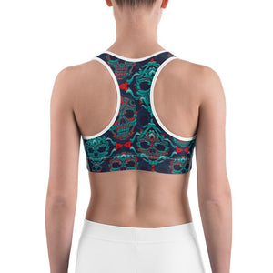 Ornamental Sugar Skull Sports bra - US FITGIRLS