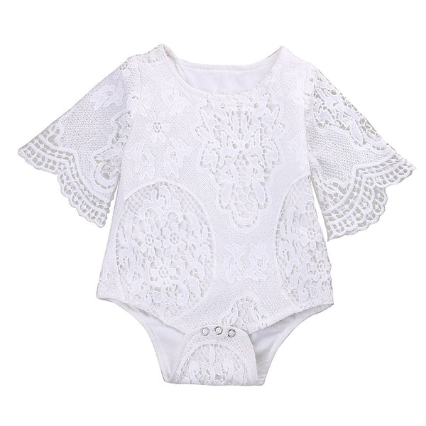 Cute Baby Girls White Lace Ruffles Sleeve Romper Infant Lace Jumpsuit Clothes Sunsuit Outfits - Bilo store