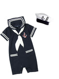 Bilo Baby Boy Marine Sailor Costume Short Sleeve Romper Onesie With Hat 2 Pcs Set - Bilo store
