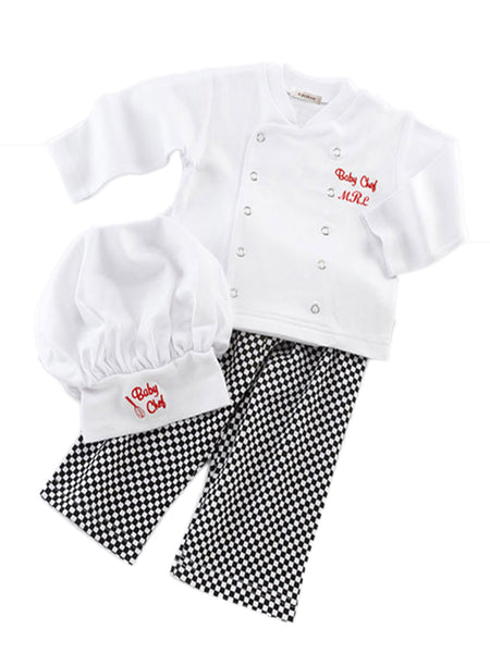 Bilo Baby Boy 3-Pcs Girl Unisex Cotton Cook Chef Costume, Pants and Hat - Bilo store