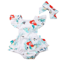 Infant Baby Girls White Little Mermaid Heart Shaped Halter Graphic Sunsuit Romper Summer Ruffle Outfit - Bilo store