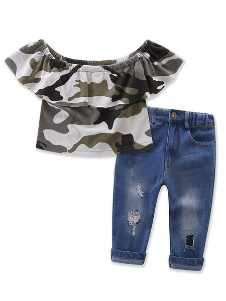 Bilo Little Girl Camouflage Off Shoulder Top and Jeans 2 pcs Outfit Set - Bilo store