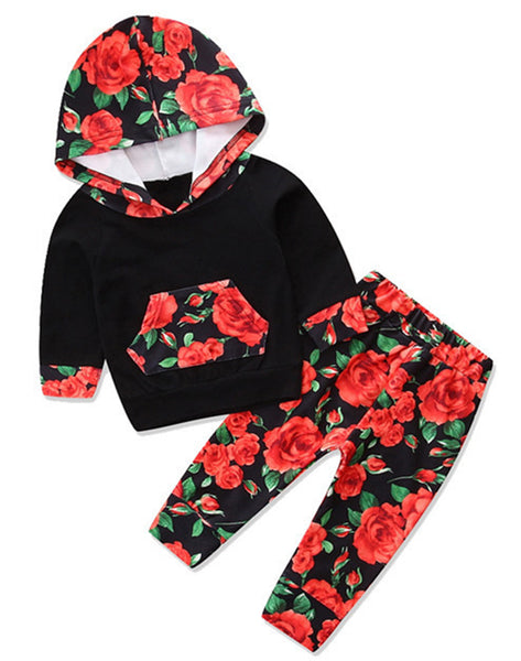 Infant Baby Girl Floral Pattern Long Sleeve Hoodie and Pants 2 pcs Outfit Black/REd Rose - Bilo store