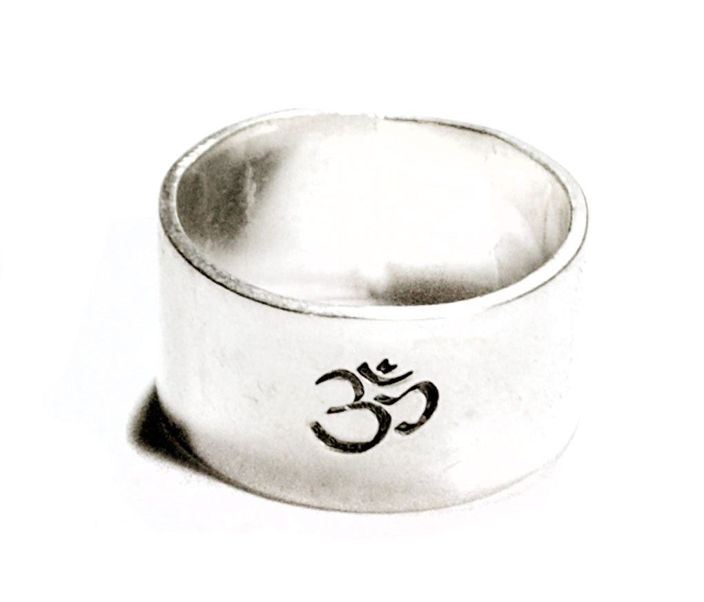 "Ohm Symbol - Sterling Silver 3/8"" Wide Hand Stamped Ring, Solid Band"