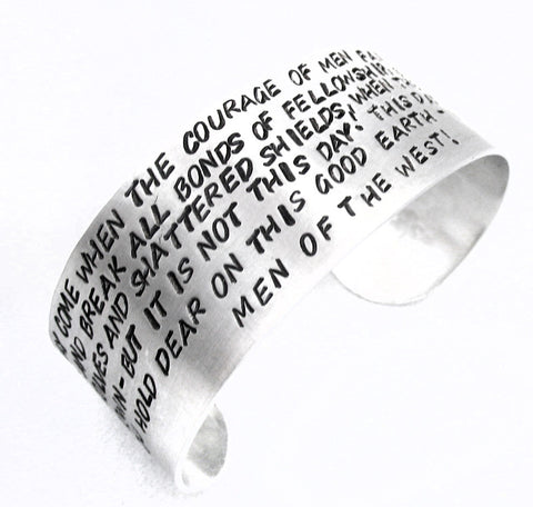 "Aragorn's Speech - Handstamped Wide 1"" Aluminum Cuff by Foxwise"
