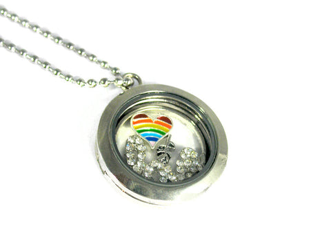 Rainbow Heart - LGBTQ Floating Locket