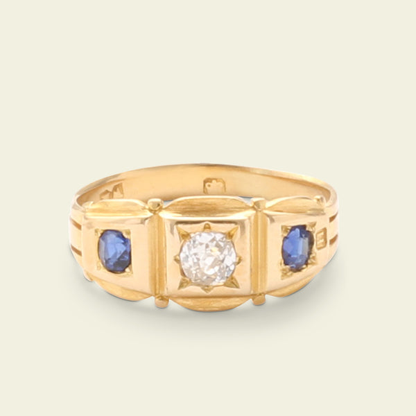 Victorian Scalloped Sapphire and Diamond Three Stone Ring