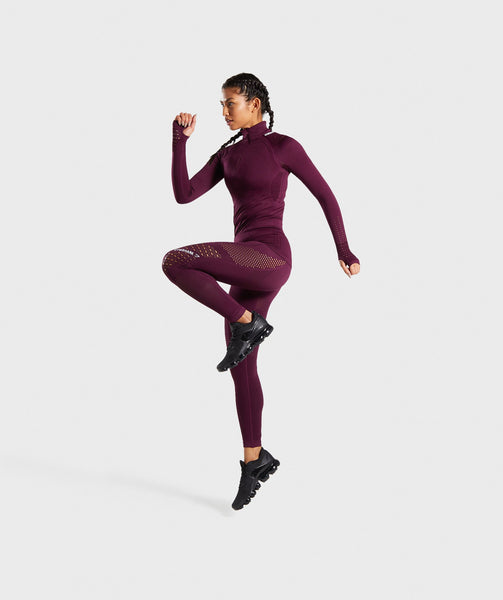 Gymshark Flawless 1/2 Zip Up Pullover - Ruby 2