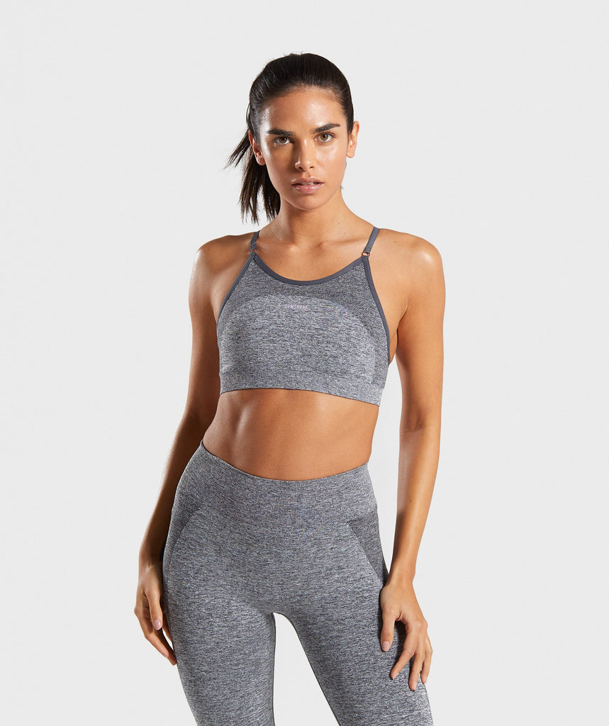 Gymshark Flex Strappy Sports Bra - Grey/Pink 1