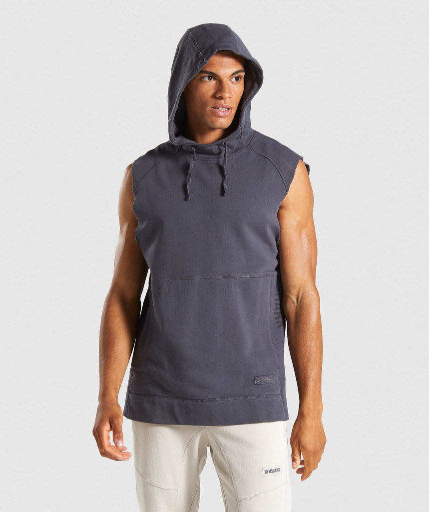 Gymshark Laundered Sleeveless Hoodie - Charcoal 1