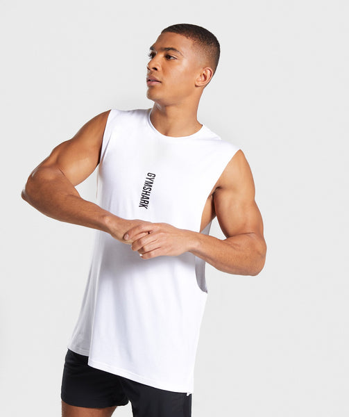 Gymshark Shadow Drop Armhole Tank - White 2