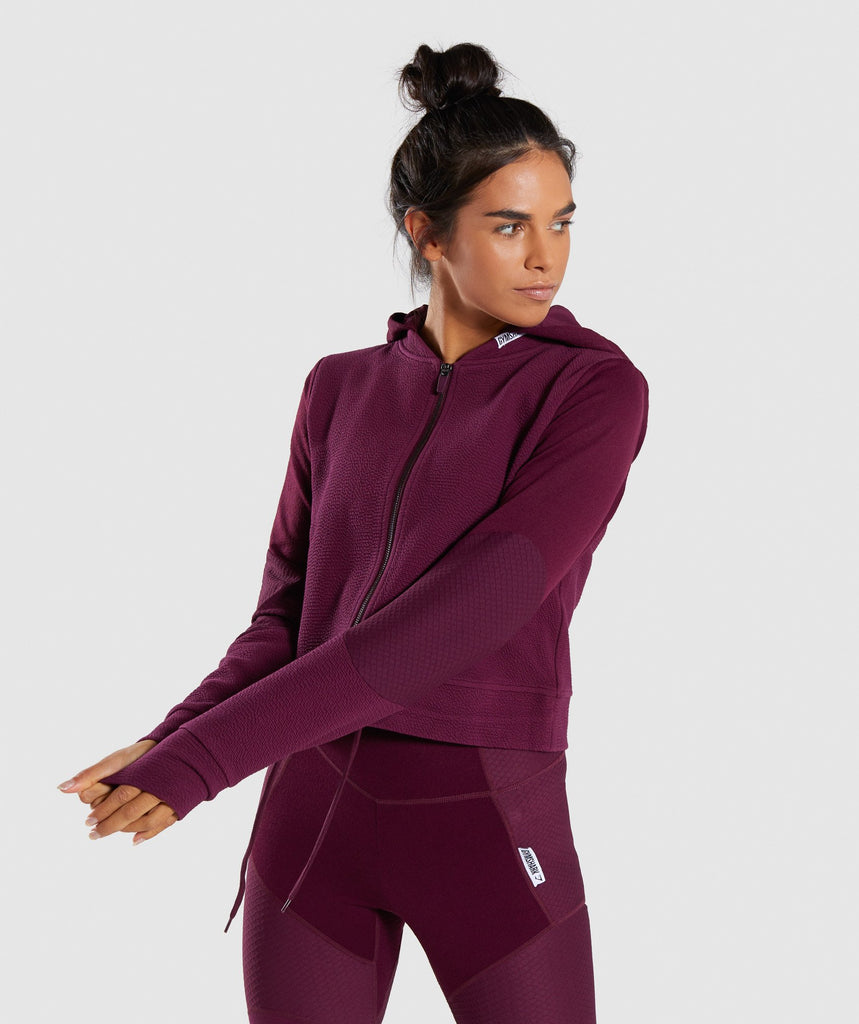 Gymshark True Texture Hooded Bomber Jacket - Dark Ruby 1