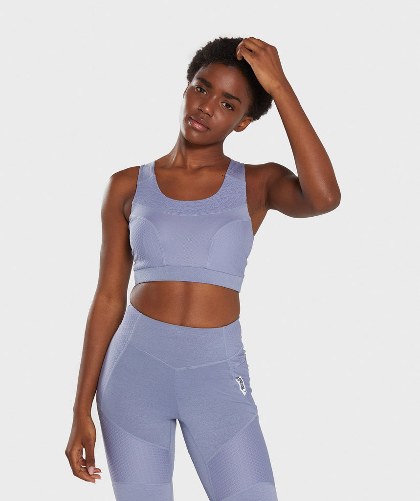 Gymshark True Texture Sports Bra - Steel Blue 1