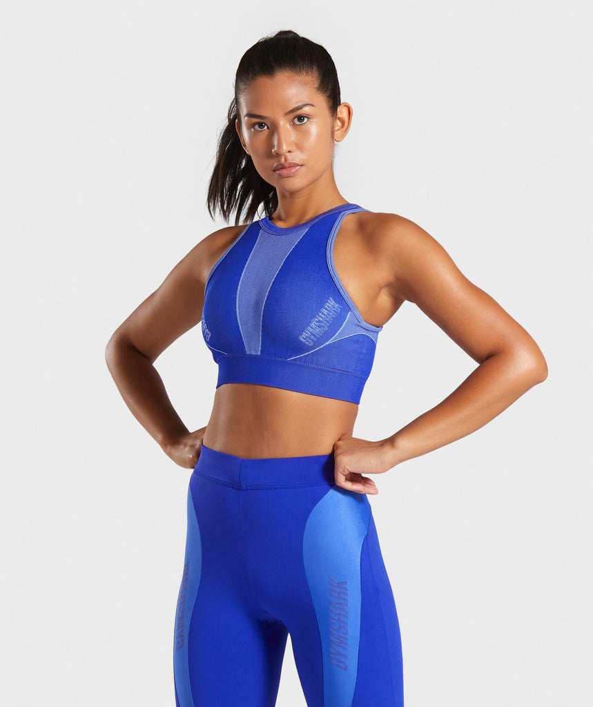 Gymshark Turbo Seamless Sports Bra - Cobalt Blue 1