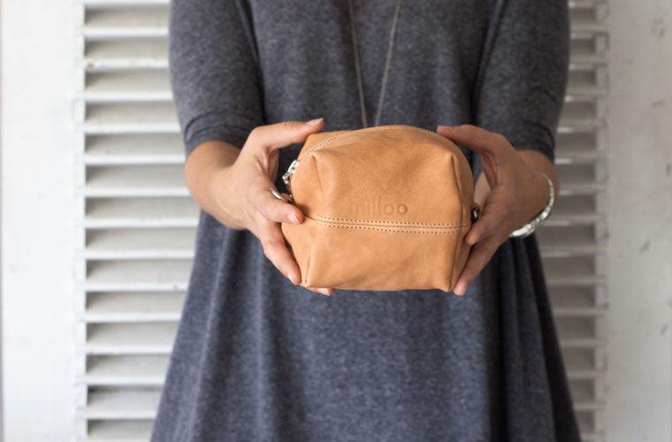 The Cube accessory bag in soft brown leather by milloo