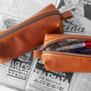 Rectangular pencil case in brown leather by milloo bags