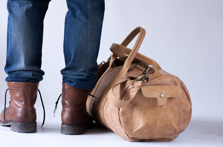 The Nestor duffle bag in brown leather by milloo