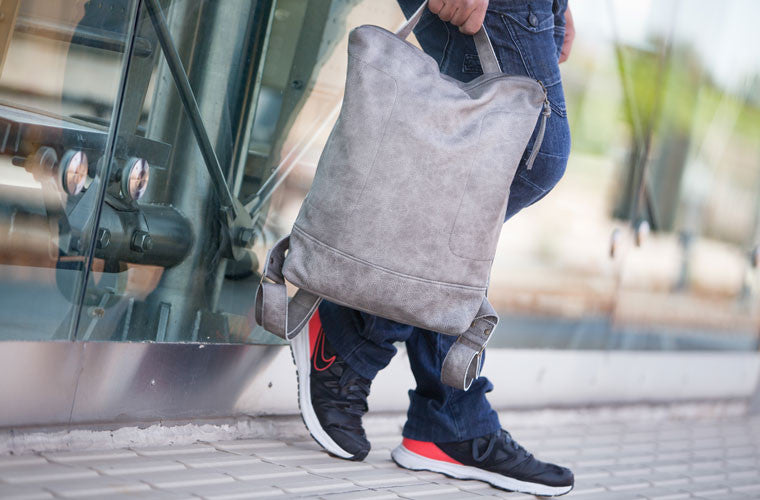 The Minos backpack in grey leather by milloo