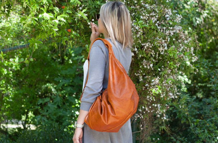 The Kallia hobo bag in brown leather by milloo