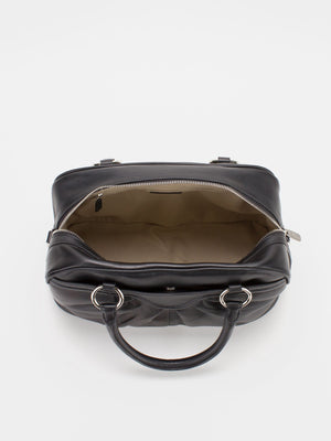Shirley Pleated Leather Satchel - Black