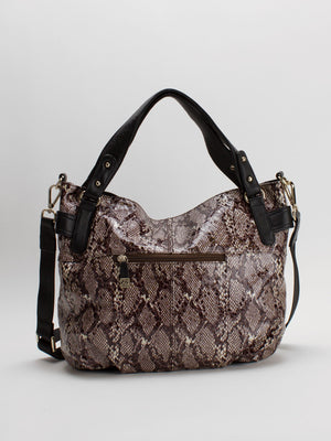 Vilma Python Print Patent Leather Bag - Brown/Black