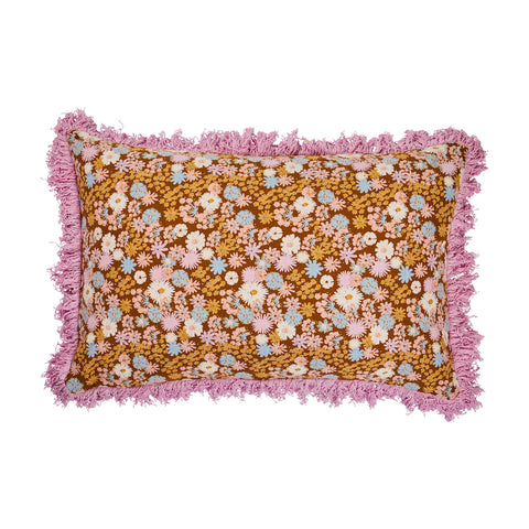 Alico cotton hand printed desert ditsy floral pattern cushion with pink fringing