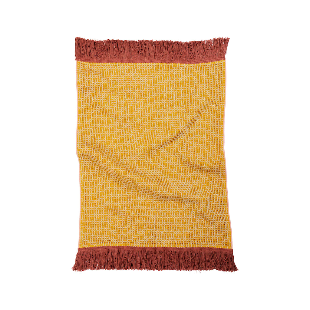 hand woven hand towel with fringing