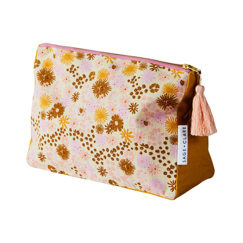 Floral vintage cosmetic bag in dandelion, tan, taffy and terracotta