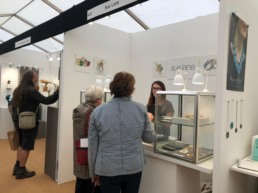 Sue Lane contemporary jewellery at the Craft Festival in Bovey Tracey, Devon.