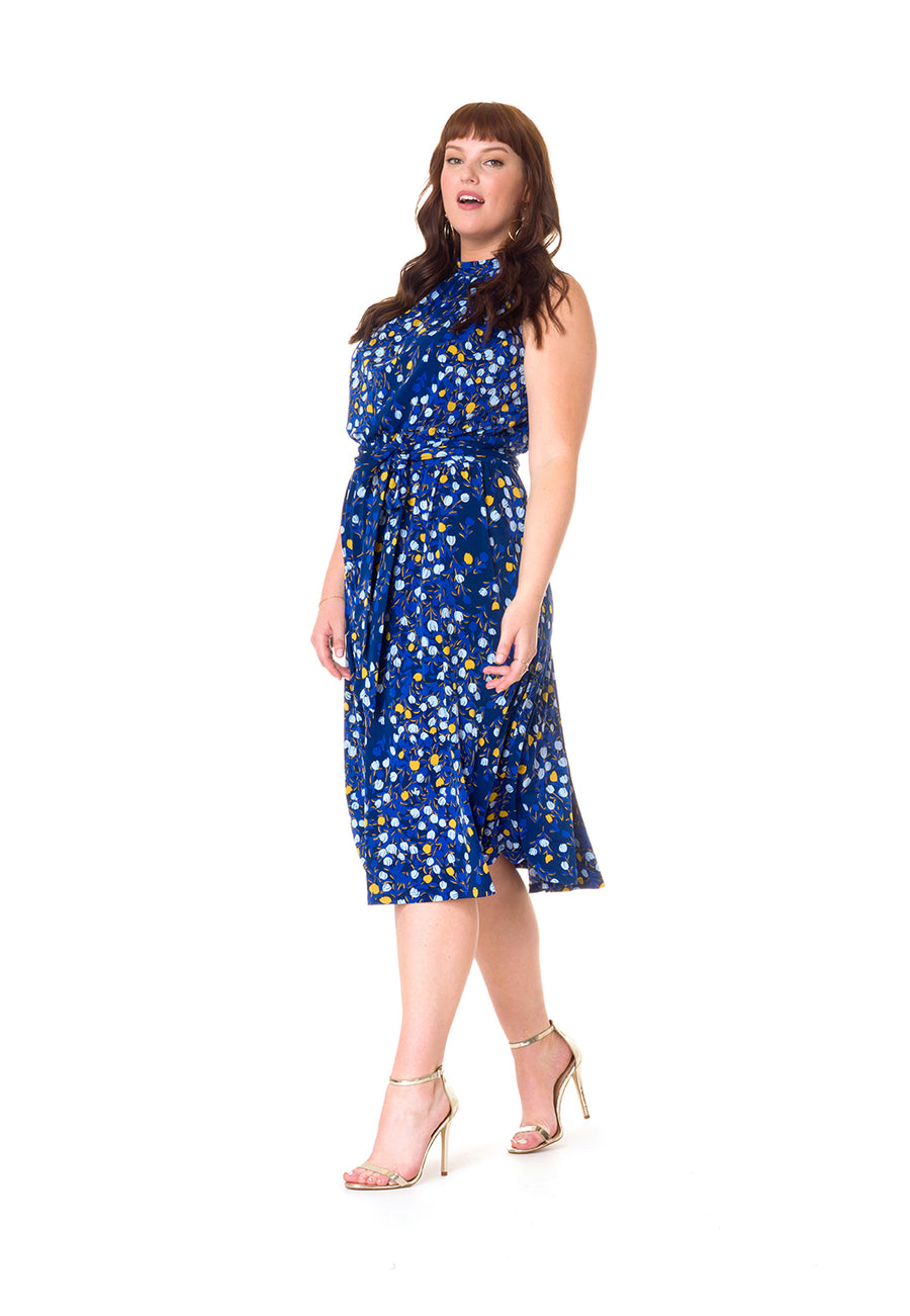 Mindy Shirred Dress in Woodberry (Curve)