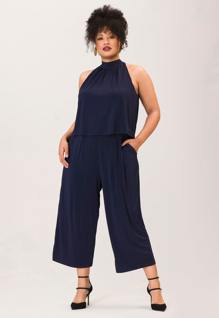 Skyler Jumpsuit in Classic Navy Essential Jersey (Curve)