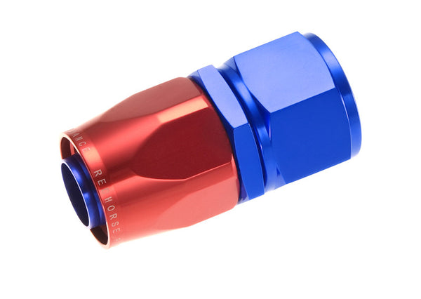 '-04  Straight Swivel-Seal Female Aluminum Hose End - Red & Blue