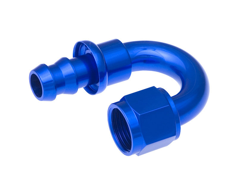 '-04 180 Degree AN Push Lock Hose End - Blue