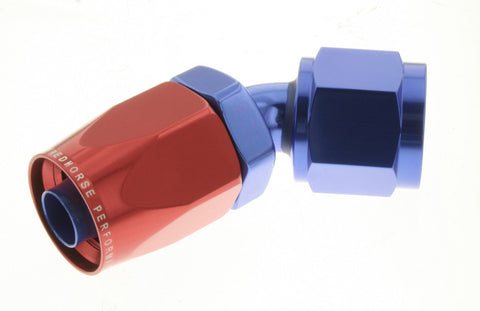 '-04 45 Degree Non-Swivel AN Hose End - Red & Blue