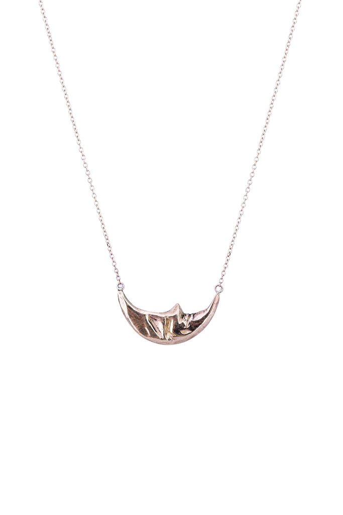wings hawaii necklace with horizontal sleeping moon in solid 14 karat yellow gold