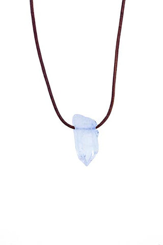Leather Necklace - Quartz Crystal