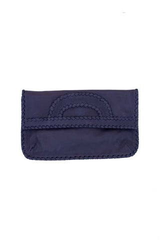 black leather clutch with shoulder strap by shirley lane