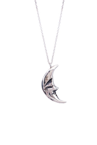 wings hawaii necklace with solid sterling silver crescent moon with sleeping face hanging vertically