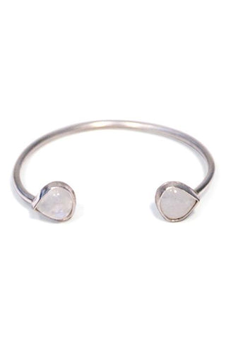 wings hawaii moonstone sterling silver cuff bracelet horseshoe u shape gemstone gem stone polished bezel set tear drop dew point rainbow boho bohemian gyspy handmade
