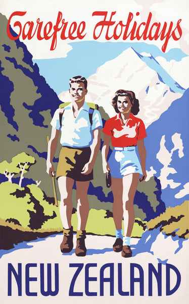 Carefree Holidays: New Zealand Vintage Travel Poster