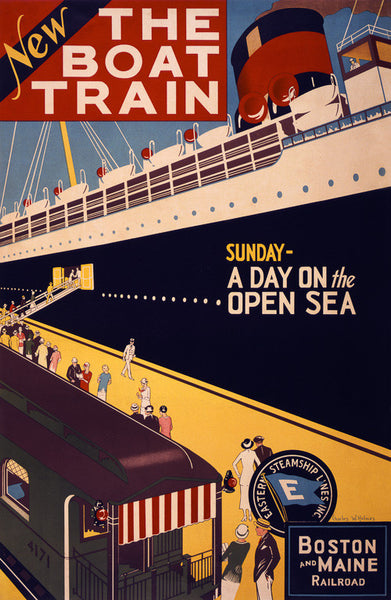 The Boat Train Vintage Travel Poster