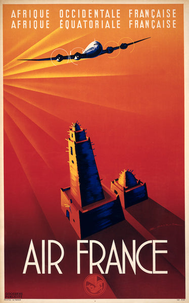 Afrique Occidentale Francaise - Air France Vintage Travel Poster
