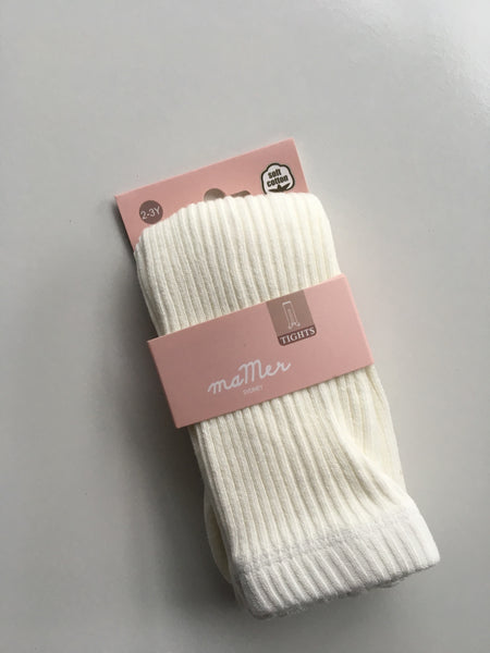 Ribbed Tights 6-12M WHITE